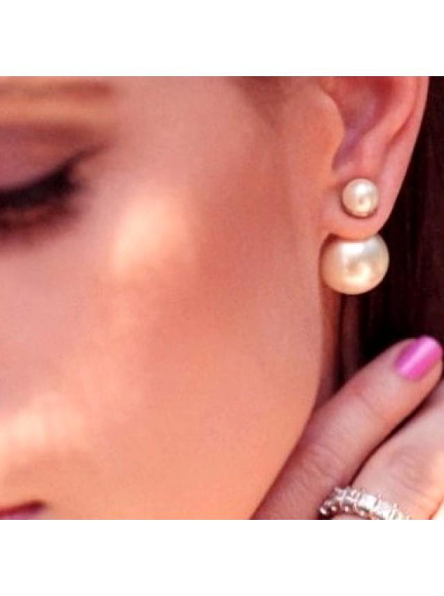 Серьги-пусеты в стиле Dior (Перламутровые)