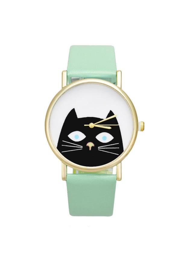 """Часы """"Кот"""" (Мятные)"""