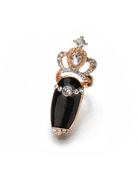 """Кольцо на верхнюю фалангу """"Версаль"""" (Черное)"""