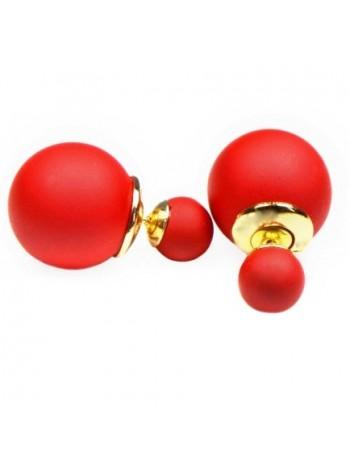 Серьги-пуссеты в стиле Dior (Красные)