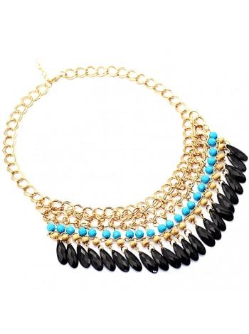 """Ожерелье """"Аида"""" (Голубые бусины)"""